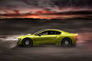 Обои BMW Тюнинг Желтый Сбоку 2015 Rinspeed Etos concept (BMW i8) Автомобили фото