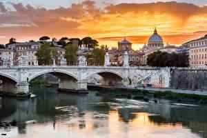 Обои Рим Италия Дома Реки Мосты Города фото