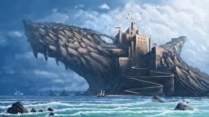 Картинки Фантастический мир Замок Фэнтези