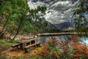 Фотографии Италия Озеро Горы HDRI Деревьев Стол Скамейка Облачно Antrona Schieranco Piedmont Природа