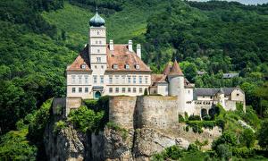 Картинки Австрия Замки Леса Утес Schonbuhel Castle Города