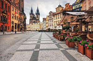 Картинка Дома Прага Чехия Улица Тротуар Города