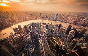 Обои Здания Небоскребы Китай Шанхай Сверху Мегаполиса Города