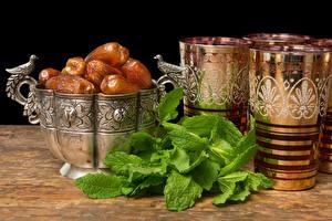 Картинки Напитки Чай Стакане Листья финики Еда