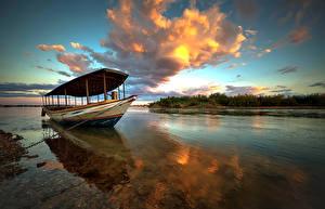 Фотографии Небо Лодки Бразилия Речка Облака Rio Sao Francisco Природа