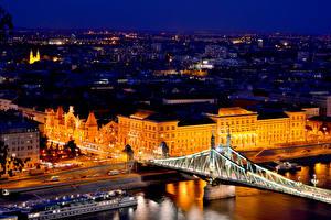 Фотография Будапешт Венгрия Дома Реки Мосты Улица Ночь Уличные фонари Города