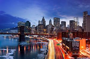Фото Дома Дороги Штаты Ночь Едет Нью-Йорк город