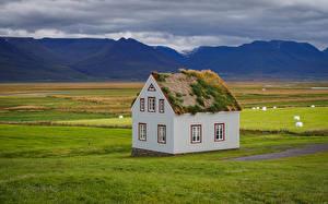 Обои Дома Луга Исландия Трава sod-house Природа