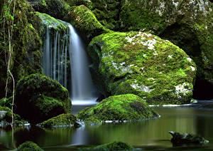 Обои Ирландия Реки Водопады Камень Мхом Cladagh River Природа