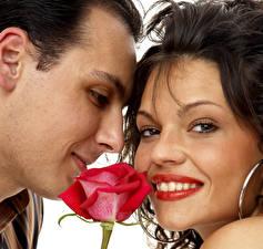 Фотографии Мужчины Розы Любовь День святого Валентина Любовники Шатенка Двое Лицо Девушки
