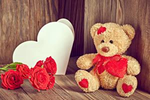 Фото Игрушки Праздники День всех влюблённых Розы Плюшевый мишка Сердце Цветы