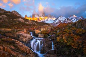 Фото Пейзаж Горы Осень Водопады South America Patagonia Природа