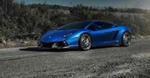 Картинка Lamborghini Синий Роскошная 2015 gallardo Автомобили