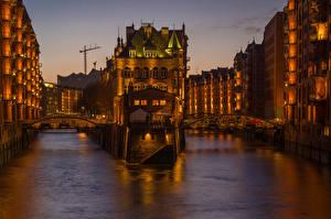 Обои Германия Дома Мосты Гамбург Водный канал Ночные