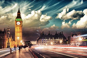 Фотографии Англия Дороги Лондон Облака Улица Движение Биг-Бен Уличные фонари