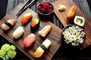 Фотография Морепродукты Суши Ромашки Пища
