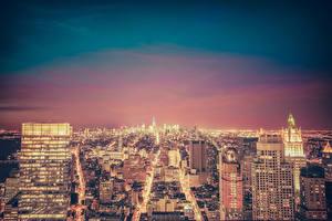 Фотографии Дома Штаты Ночь Нью-Йорк Empire State Building Города