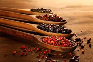 Картинка Приправы Перец чёрный Ложка Продукты питания