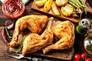 Обои Мясные продукты Курица запеченная Кетчуп Продукты питания
