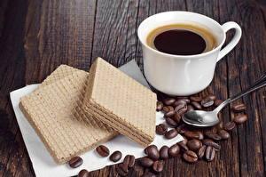 Картинки Напитки Кофе Выпечка Вафля Чашке Зерно Еда