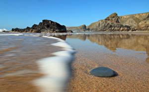 Фотографии Камни Вода Море Англия Скала Cornwall Природа