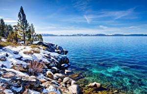Фотографии США Озеро Берег Зимние Пейзаж Небо Деревьев Невада Lake Tahoe Природа