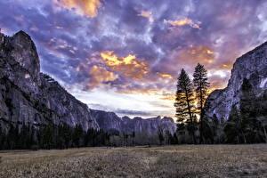 Обои Небо Горы Вечер США Парки Облака Йосемити Природа фото