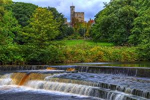 Обои Водопады Реки Англия Замки HDR Hornby castle Природа фото