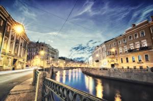 Обои Россия Санкт-Петербург Вечер Водный канал Ограда