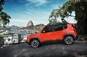 Обои Небо Jeep Оранжевый Сбоку 2015 Renegade Trailhawk BR-spec Автомобили фото