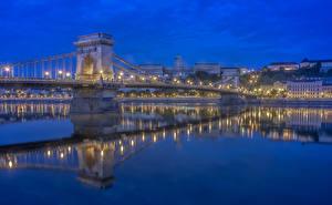 Картинки Мост Речка Венгрия Будапешт Ночь Danube город