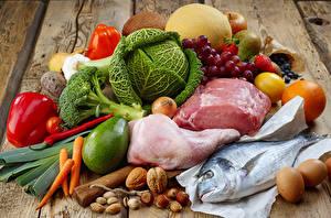Обои Мясные продукты Капуста Дыни Овощи Фрукты Орехи Перец Виноград Рыба Еда