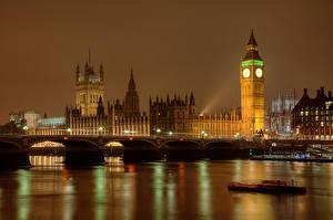 Картинки Англия Мосты В ночи Лондон Биг-Бен город