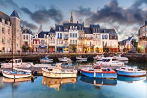 Фотографии Франция Здания Пирсы Катера Croisic Города