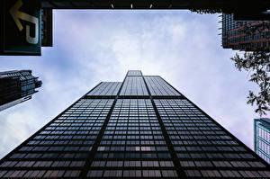 Обои Дома Небоскребы Штаты Чикаго город Willis Tower Города