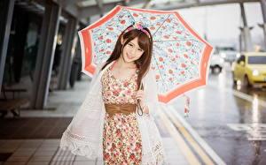 Фотография Азиаты Зонт Шатенки Платье Девушки