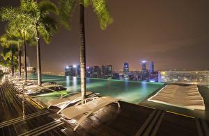 Фото Сингапур Шезлонг Ночь Пальма Бассейны Города