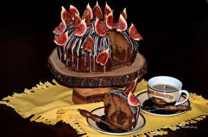 Обои Сладости Торты Инжир Кофе Шоколад Дизайн Чашка Черный фон Пища