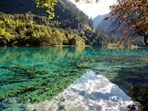 Фотографии Китай Пейзаж Парки Озеро Леса Цзючжайгоу парк Природа