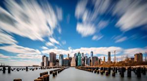 Фотографии Небо Здания Штаты Облака Нью-Йорк Манхэттен город