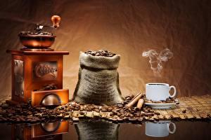 Обои Кофе Кофемолка Чашка Зерна Еда