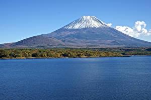 Картинки Гора Япония Фудзияма Вулканы Природа