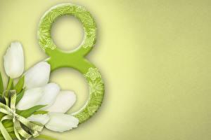 Картинки Праздники 8 марта Тюльпан Бант Цветы