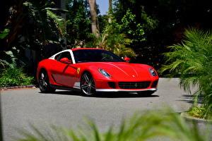 Фотография Феррари Красный 2011 Pininfarina 599 Автомобили