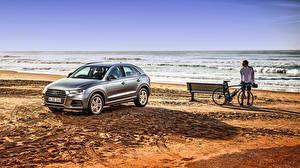 Обои Море Audi Скамейка Пляжа Велосипед 2015 A1 Sportback TFSI AU-spec Автомобили Природа