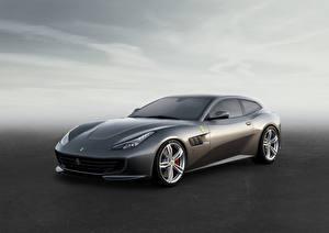 Картинки Ferrari Серый Дорогие 2016 GTC4 Lusso Автомобили