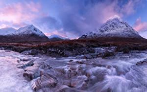 Фотография Шотландия Реки Горы Камни River Coupall Природа