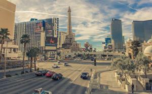 Фотографии Дороги Дома США Улица Эйфелева башня Лас-Вегас