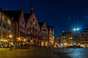 Картинки Дома Германия Франкфурт-на-Майне Ночь Улиц