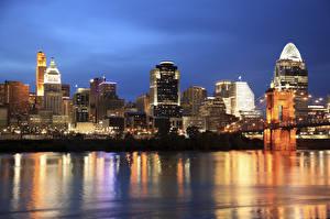 Обои Дома Побережье США Ночь Ohio, Cincinnati Города фото